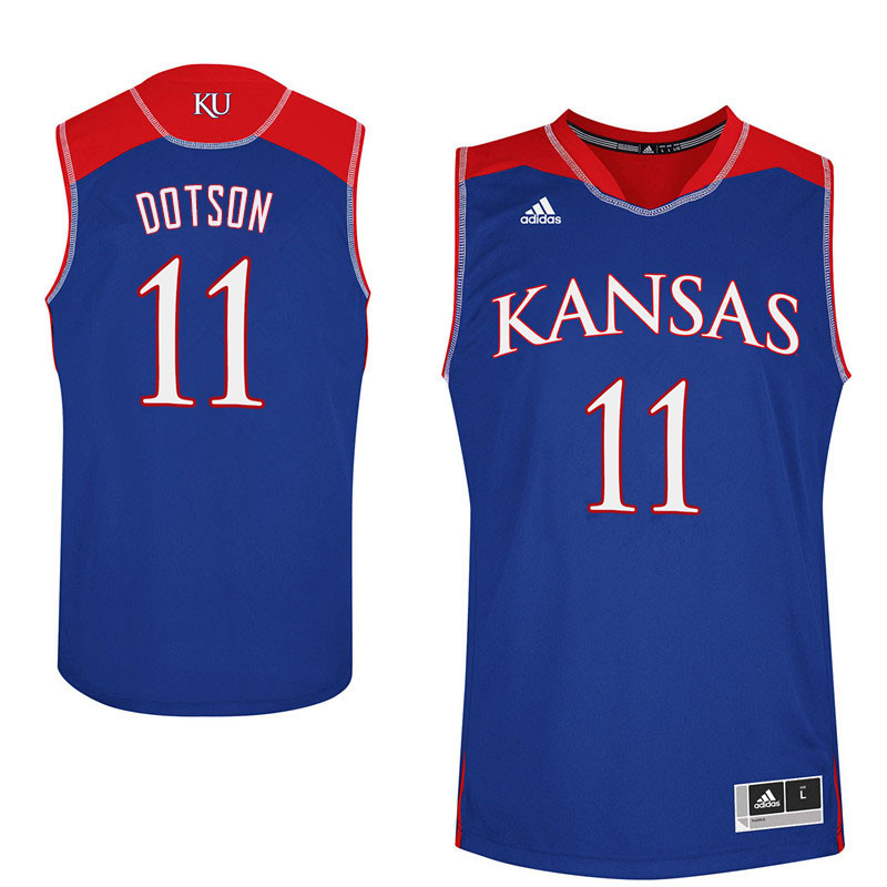 Men #11 Devon Dotson Kansas Jayhawks College Basketball Jerseys Sale-Blue