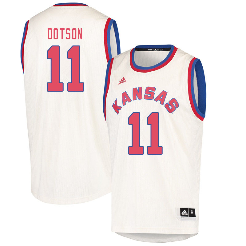 Men #11 Devon Dotson Kansas Jayhawks College Basketball Jerseys Sale-Cream