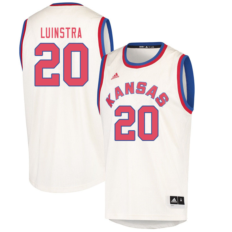 Men #20 Garrett Luinstra Kansas Jayhawks College Basketball Jerseys Sale-Cream