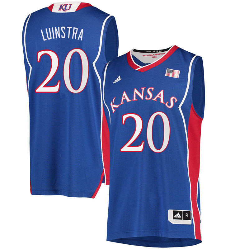 Men #20 Garrett Luinstra Kansas Jayhawks College Basketball Jerseys Sale-Royal