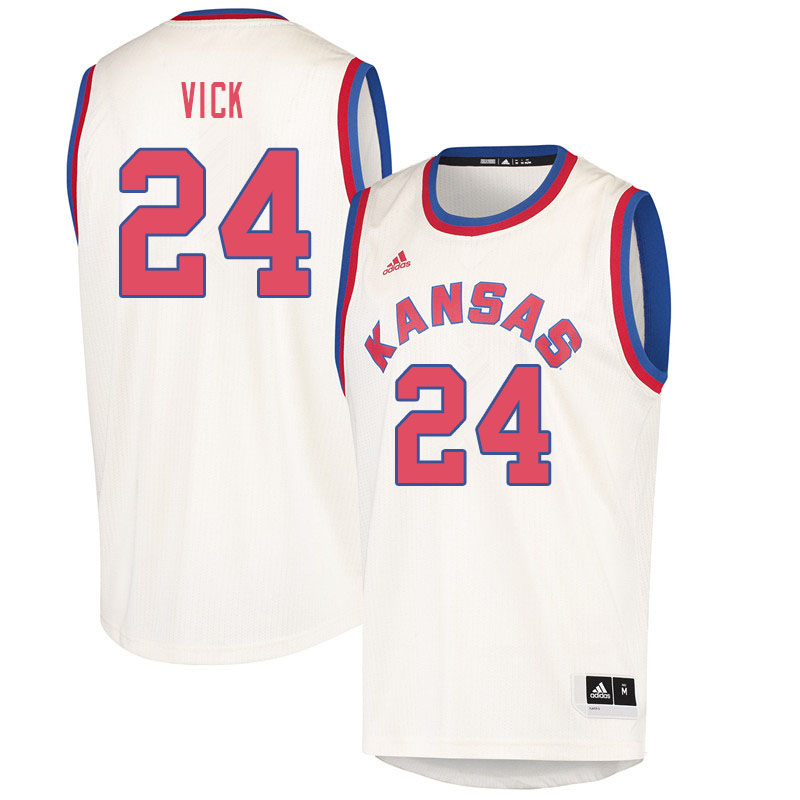 Men #24 Lagerald Vick Kansas Jayhawks College Basketball Jerseys Sale-Cream