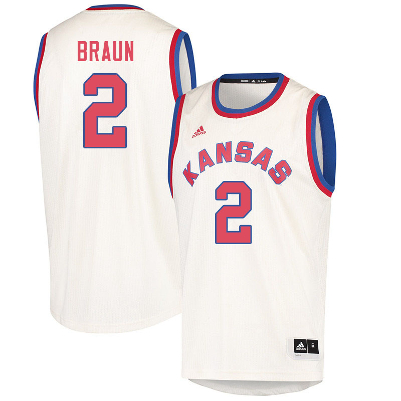 Men #2 Christian Braun Kansas Jayhawks College Basketball Jerseys Sale-Cream