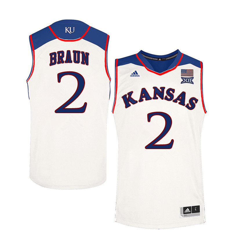 Men #2 Christian Braun Kansas Jayhawks College Basketball Jerseys Sale-White