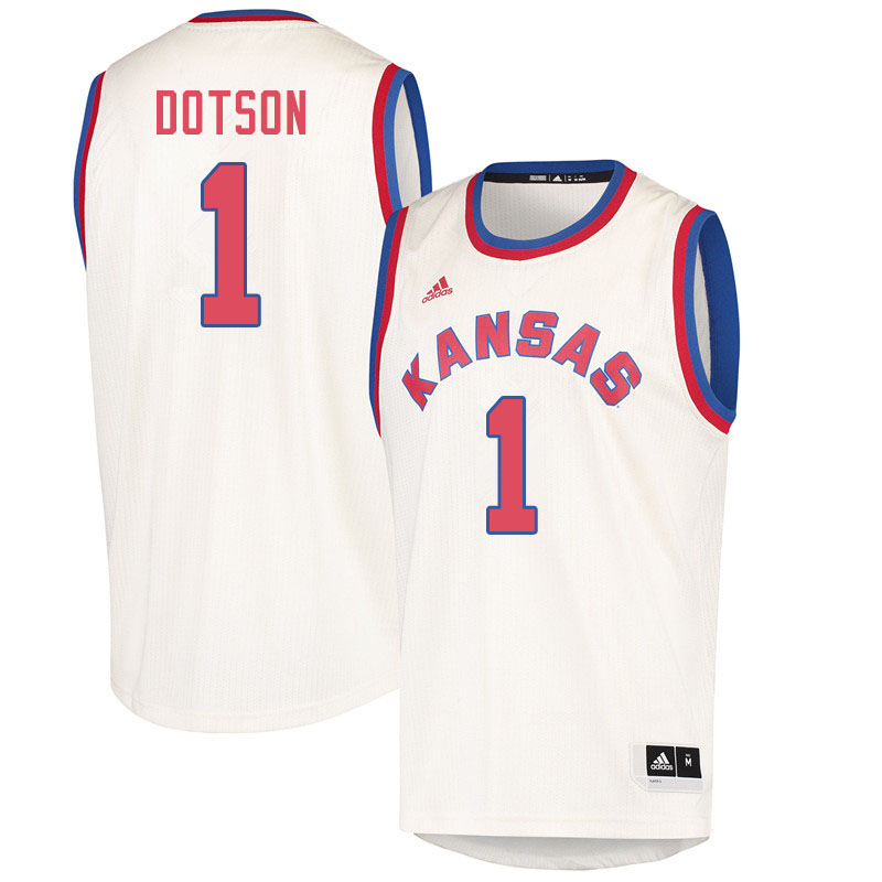 Men #1 Devon Dotson Kansas Jayhawks College Basketball Jerseys Sale-Cream