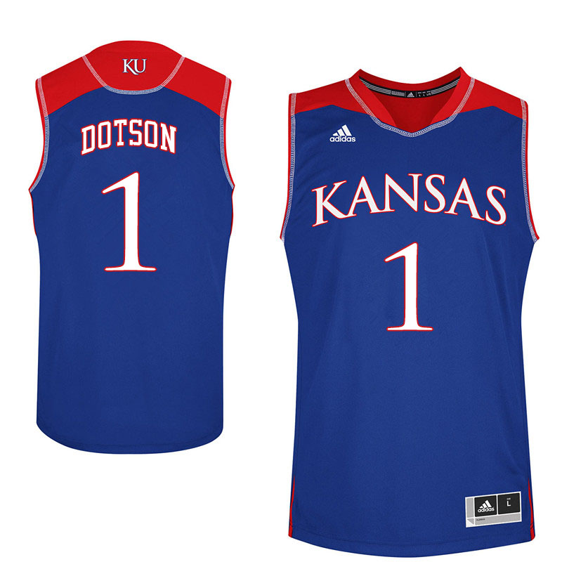 Men #1 Devon Dotson Kansas Jayhawks College Basketball Jerseys Sale-Royal