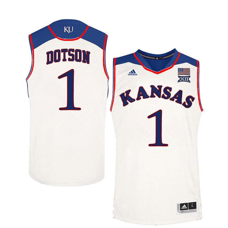 Men #1 Devon Dotson Kansas Jayhawks College Basketball Jerseys Sale-White