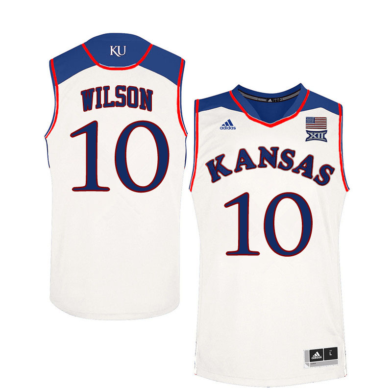 Men #10 Jalen Wilson Kansas Jayhawks College Basketball Jerseys Sale-White