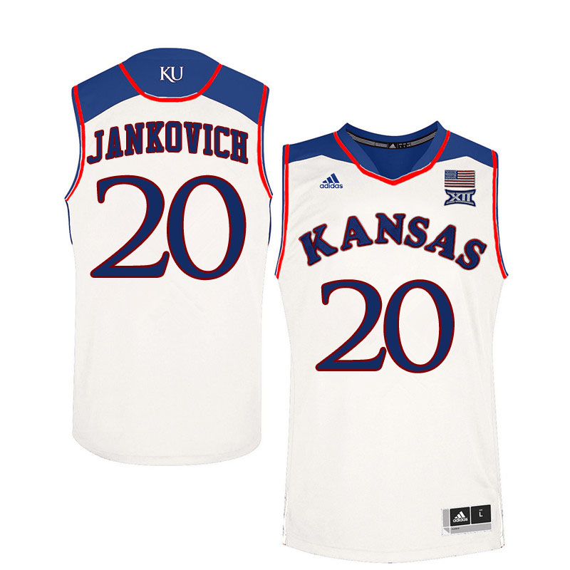 Men #20 Michael Jankovich Kansas Jayhawks College Basketball Jerseys Sale-White