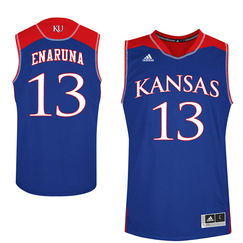 Men #13 Tristan Enaruna Kansas Jayhawks College Basketball Jerseys Sale-Royal