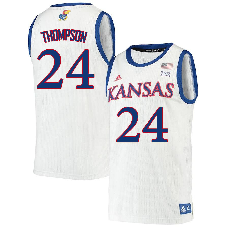 Men #24 Bryce Thompson Kansas Jayhawks College Basketball Jerseys Sale-White