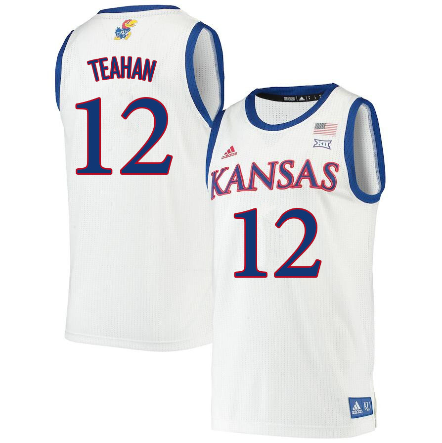 Men #12 Chris Teahan Kansas Jayhawks College Basketball Jerseys Sale-White