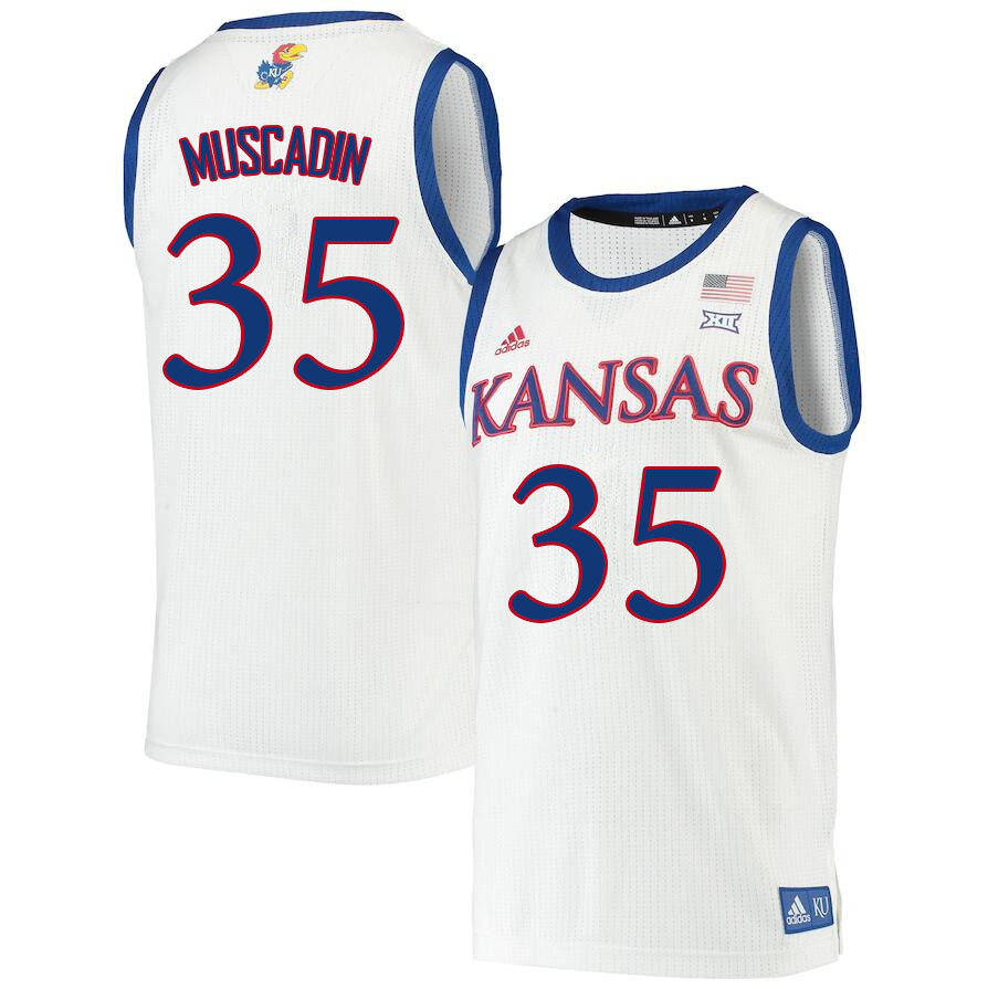 Men #35 Gethro Muscadin Kansas Jayhawks College Basketball Jerseys Sale-White