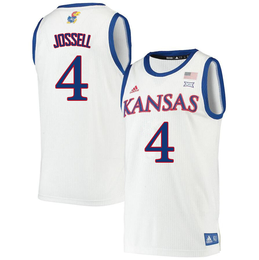 Men #4 Latrell Jossell Kansas Jayhawks College Basketball Jerseys Sale-White