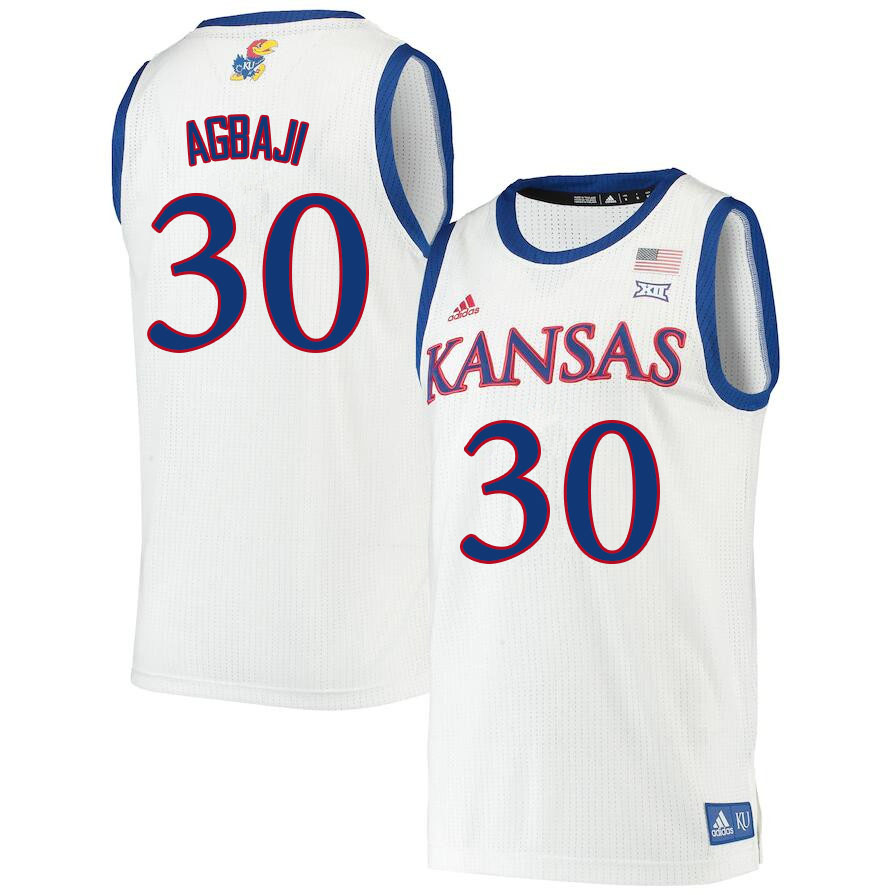 Men #30 Ochai Agbaji Kansas Jayhawks College Basketball Jerseys Sale-White