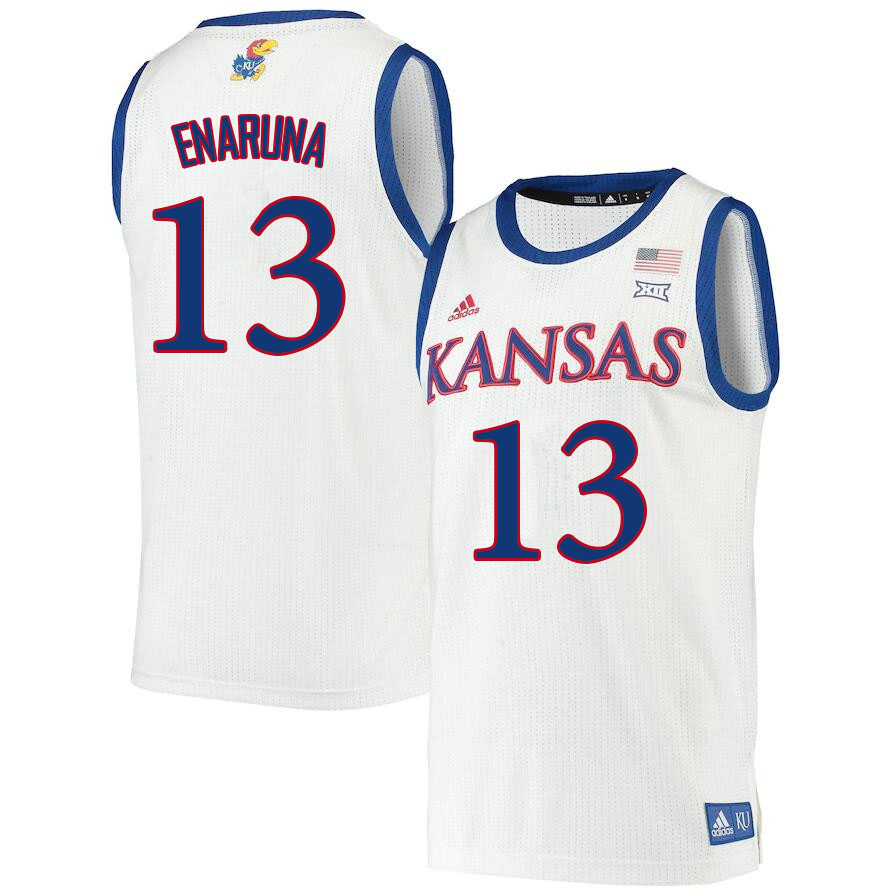 Men #13 Tristan Enaruna Kansas Jayhawks College Basketball Jerseys Sale-White