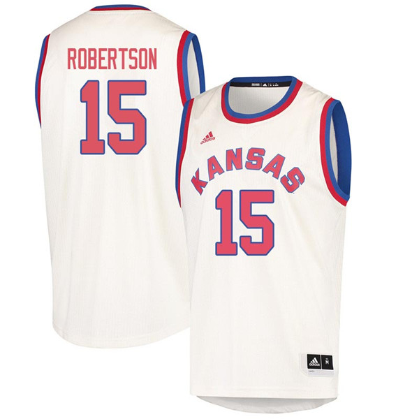 Men #15 Aisia Robertson Kansas Jayhawks 2018 Hardwood Classic College Basketball Jerseys Sale-Cream