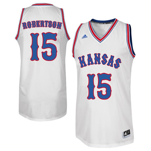 Men #15 Aisia Robertson Kansas Jayhawks Retro Throwback College Basketball Jerseys Sale-White