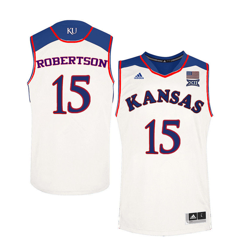 Men Kansas Jayhawks #15 Aisia Robertson College Basketball Jerseys-White