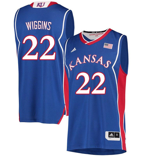 Men #22 Andrew Wiggins Kansas Jayhawks 2018 Hardwood Classic College Basketball Jerseys Sale-Royal