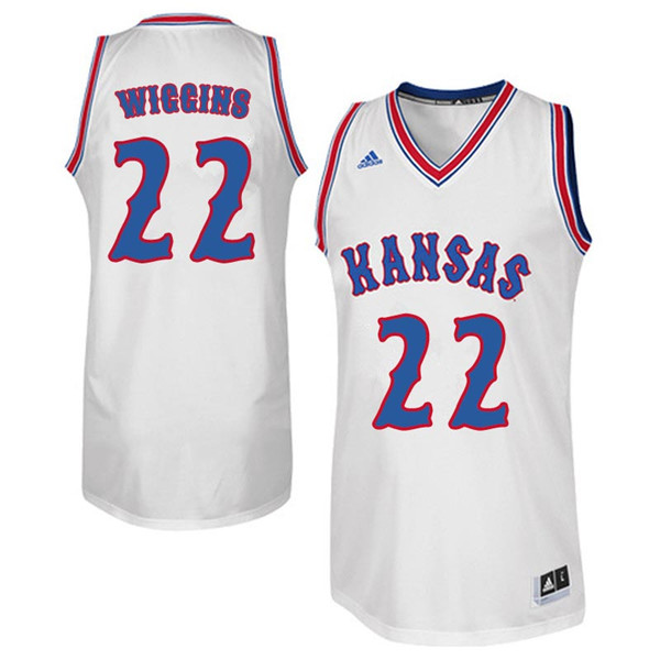 Men #22 Andrew Wiggins Kansas Jayhawks Retro Throwback College Basketball Jerseys Sale-White