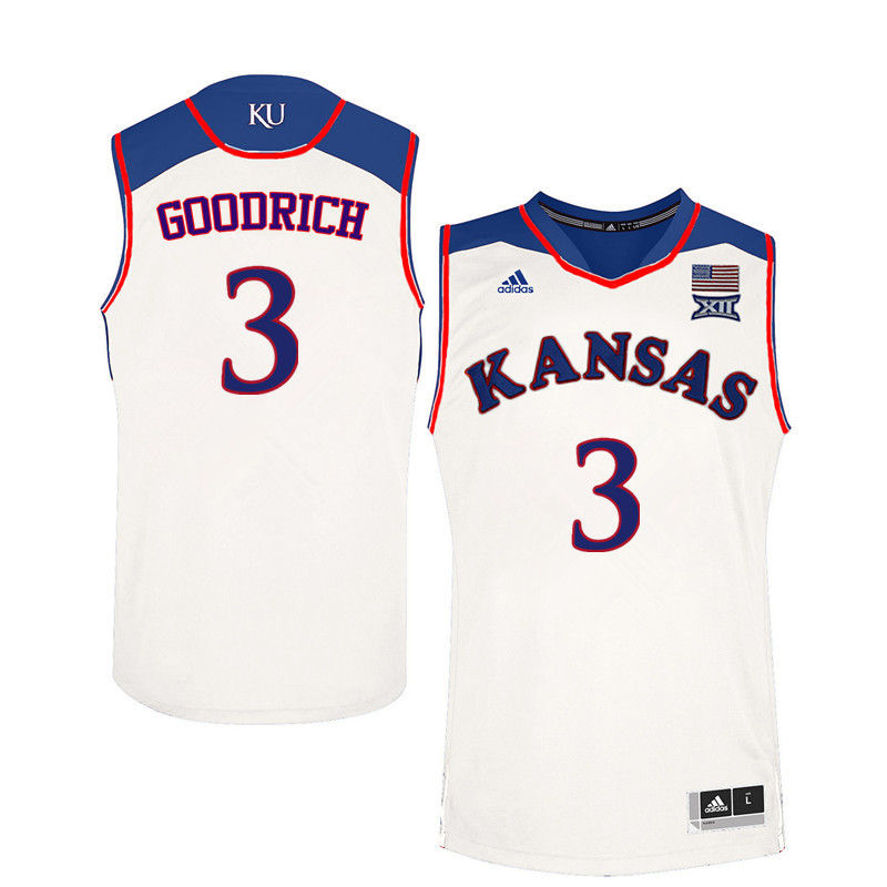 Men Kansas Jayhawks #3 Angel Goodrich College Basketball Jerseys-White