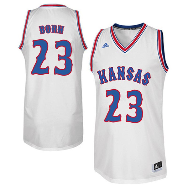 Men #23 B.H. Born Kansas Jayhawks Retro Throwback College Basketball Jerseys Sale-White