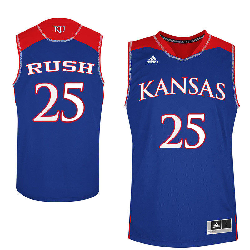 Men Kansas Jayhawks #25 Brandon Rush College Basketball Jerseys-Royals