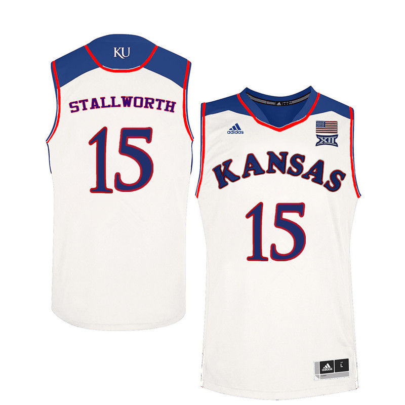 Men Kansas Jayhawks #15 Bud Stallworth College Basketball Jerseys-White