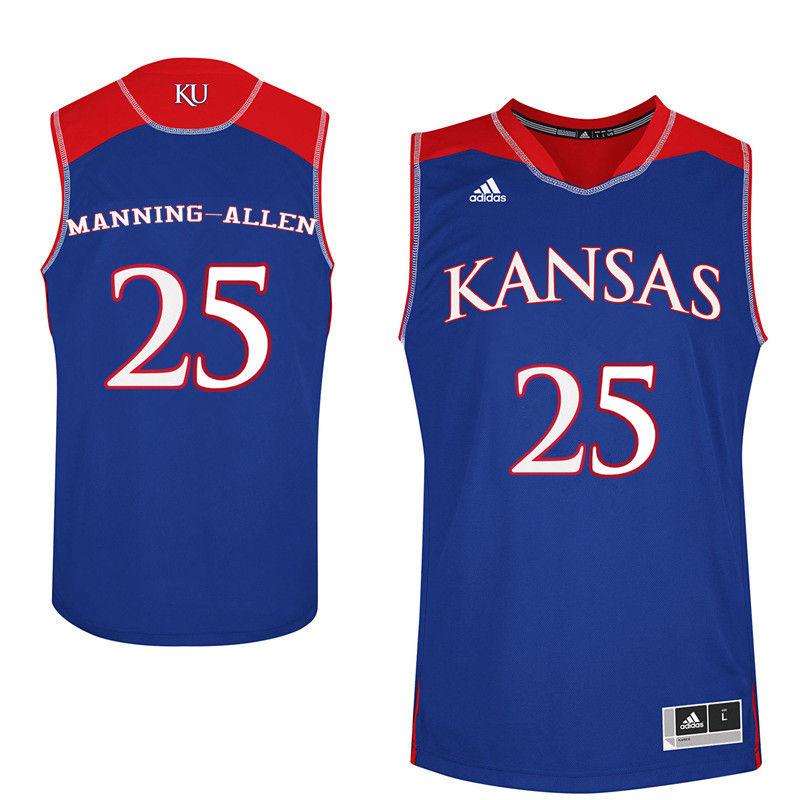 Men Kansas Jayhawks #25 Caelynn Manning-Allen College Basketball Jerseys-Royals