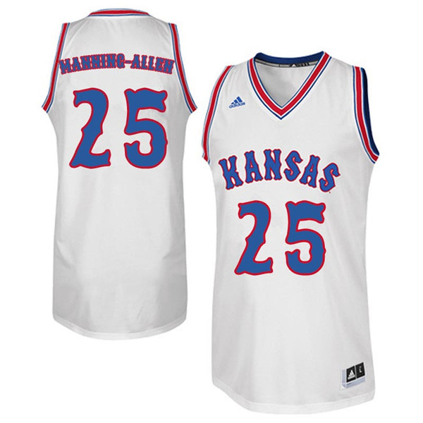 Men #25 Caelynn Manning-Allen Kansas Jayhawks Retro Throwback College Basketball Jerseys Sale-White
