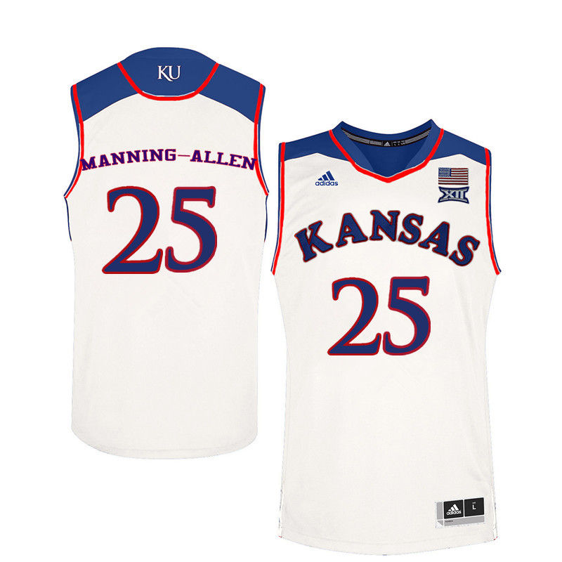 Men Kansas Jayhawks #25 Caelynn Manning-Allen College Basketball Jerseys-White