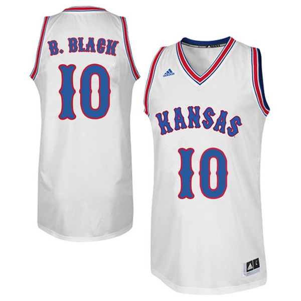 Men #10 Charles B. Black Kansas Jayhawks Retro Throwback College Basketball Jerseys Sale-White