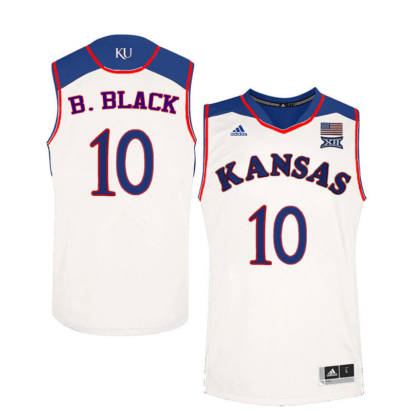 Men Kansas Jayhawks #10 Charles B. Black College Basketball Jerseys-White