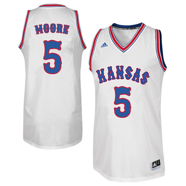 Men #5 Charlie Moore Kansas Jayhawks Retro Throwback College Basketball Jerseys Sale-White