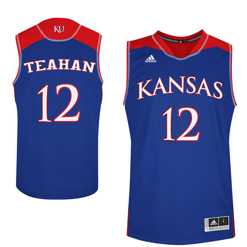 Men Kansas Jayhawks #12 Chris Teahan College Basketball Jerseys-Royals