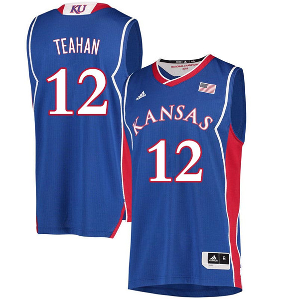 Men #12 Chris Teahan Kansas Jayhawks 2018 Hardwood Classic College Basketball Jerseys Sale-Royal