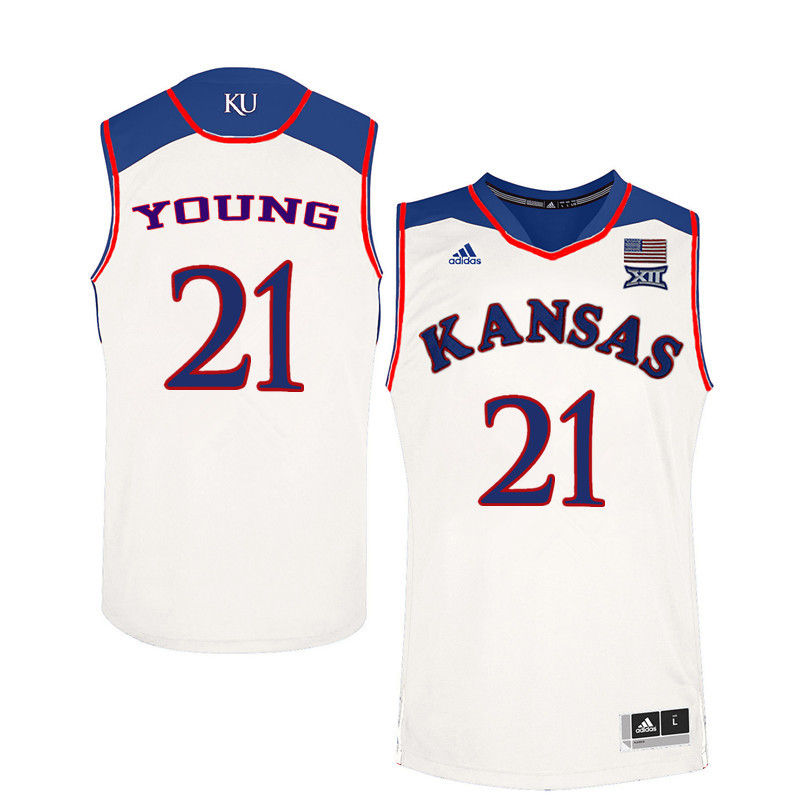 Men Kansas Jayhawks #21 Clay Young College Basketball Jerseys-White