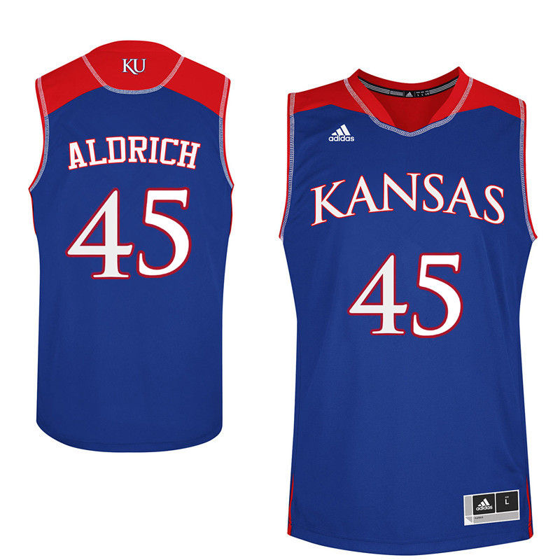 Men Kansas Jayhawks #45 Cole Aldrich College Basketball Jerseys-Royals