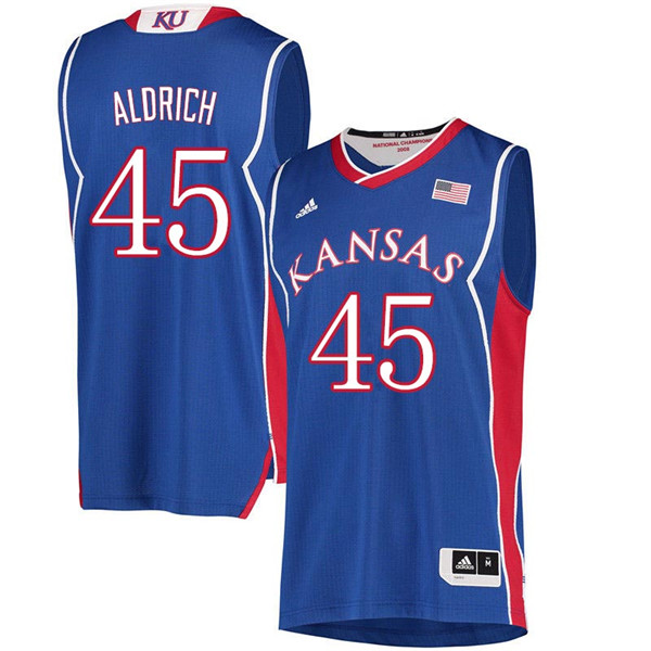 Men #45 Cole Aldrich Kansas Jayhawks 2018 Hardwood Classic College Basketball Jerseys Sale-Royal