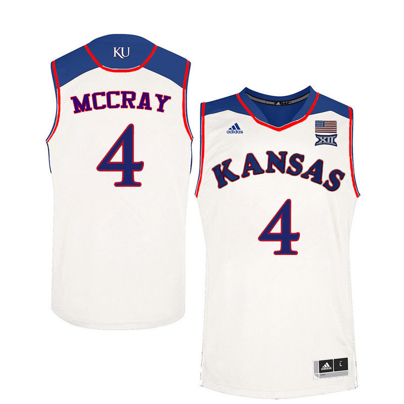 Men Kansas Jayhawks #4 Danielle McCray College Basketball Jerseys-White