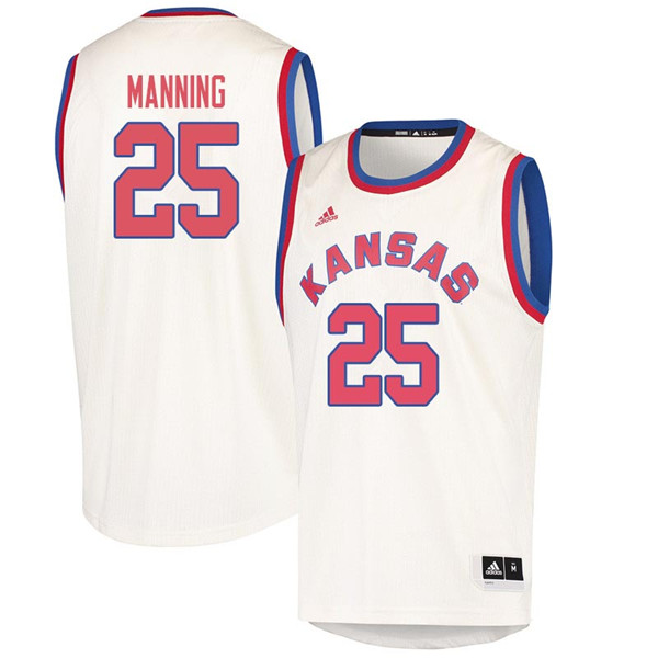 Men #25 Danny Manning Kansas Jayhawks 2018 Hardwood Classic College Basketball Jerseys Sale-Cream