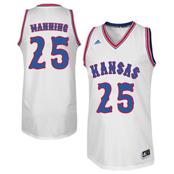 Men #25 Danny Manning Kansas Jayhawks Retro Throwback College Basketball Jerseys Sale-White