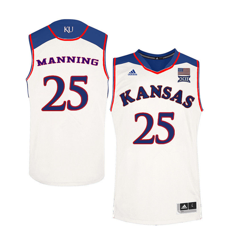 Men Kansas Jayhawks #25 Danny Manning College Basketball Jerseys-White