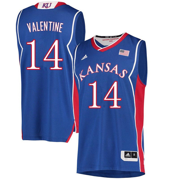 Men #14 Darnell Valentine Kansas Jayhawks 2018 Hardwood Classic College Basketball Jerseys Sale-Roya