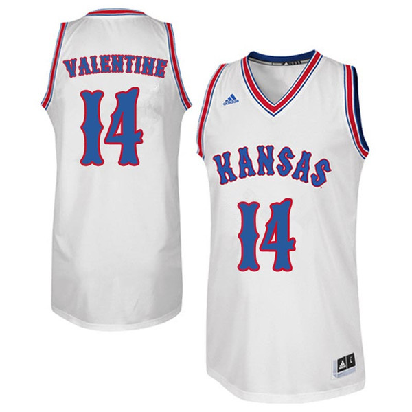 Men #14 Darnell Valentine Kansas Jayhawks Retro Throwback College Basketball Jerseys Sale-White