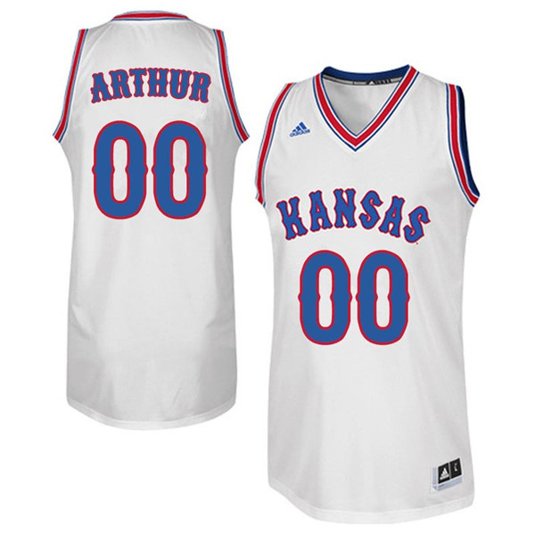 Men #00 Darrell Arthur Kansas Jayhawks Retro Throwback College Basketball Jerseys Sale-White