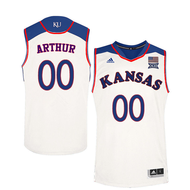 Men Kansas Jayhawks #00 Darrell Arthur College Basketball Jerseys-White