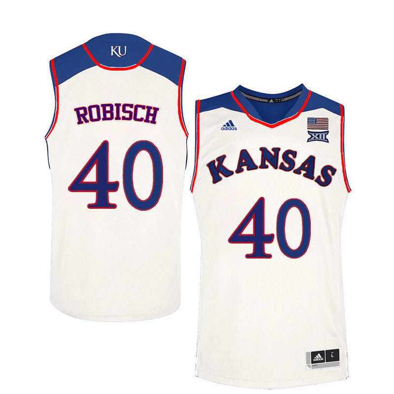 Men Kansas Jayhawks #40 Dave Robisch College Basketball Jerseys-White