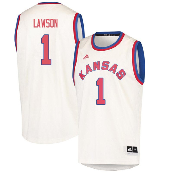 Men #1 Dedric Lawson Kansas Jayhawks 2018 Hardwood Classic College Basketball Jerseys Sale-Cream