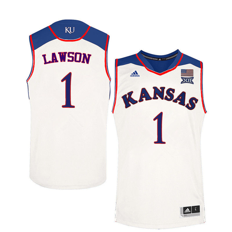 Men Kansas Jayhawks #1 Dedric Lawson College Basketball Jerseys-White